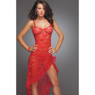 Red Lace Sexy  Dress with Ruffle